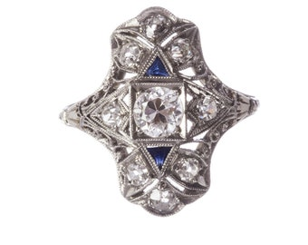 Art Deco Platinum 18 kt Gold Diamond Filigree and Blue Sapphire Millgrain Ring