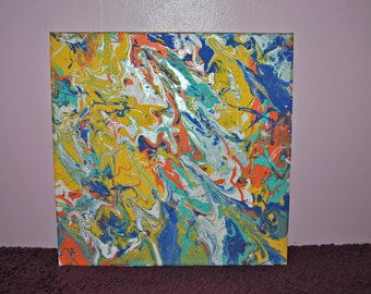 Abstract Painting- Blue, Orange, Yellow, White. 12x12 inches