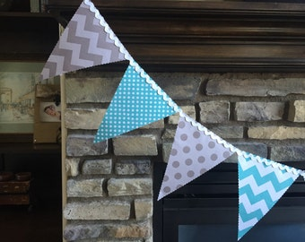 Blue and Grey Banner Pennant