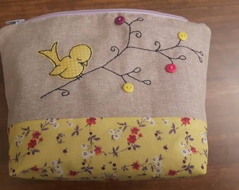 Bird applique make up bag, bird toiletry case, bird cosmetic pouch, bird wash bag, cute bird zip purse, free motion embroidery, gift for her