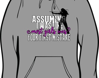 Assuming I was a Girl} Archery} Archery Girl} Bows and arrows} Hunting} Competition Gildan Hoodie by HeadSouthApparel