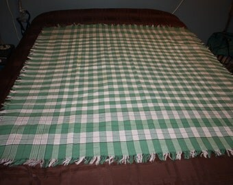 Green and white checked tablecloth