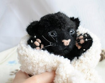 SOLD realistic  Panther cub Teddy Bear friend wild cat OOAK Panther cub Naomi