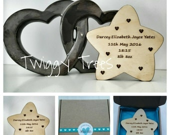 Freestanding Gift Star Plaque. Christening Gift new baby decoration wooden  xmas personalised kids names