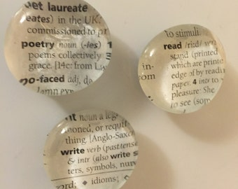 3- Dictionary Glass Magnets