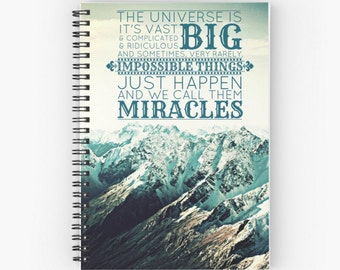 Doctor Who Quote Travel Journal / Diary / Notebook Impossible Things Whovian New Zealand Mountains