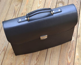 Black Leather Briefcase, Mens Busines Case, Perfect Gift for Businesman, Genuine Leather brief-bag, Black portfolio, Best Leather Gift (054)
