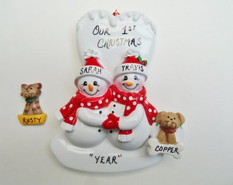 Personalized Couple Ornament with Custom Pet/Dog or Cat-Personalized Snow Couple with Custom Dog or Cat- Christmas Couple Ornament with Pet