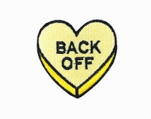 Embroideredpatch heart patch yellow patch back off Embroidered patches iron on patch sew on patch 4.2*3.6cm(A115)