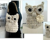 OWL BASKET, Owl Purse, Make any size, Crochet PATTERN, Easy and quick to make, flower and bag handles included, #896
