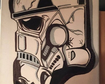 New on Canvas Star Wars Storm trooper done by me!!!!! size 11x14