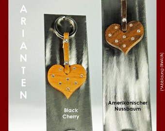 Key chain heart made of wood, with SWAROVSKI ELEMENTS