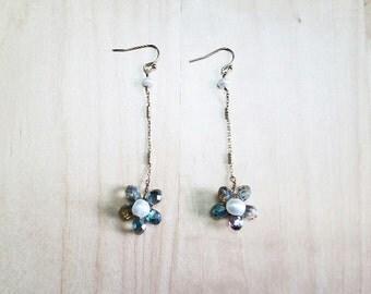 Vitriol Green Crystal and Fresh Water Pearl Flower Earrings
