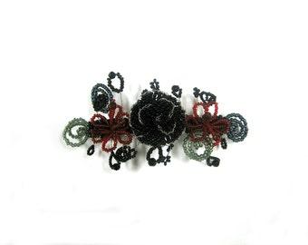Beaded Flower Barrette - Seed Beads & Acrylic Beads