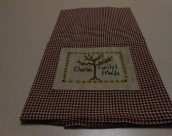 Kitchen Towel With Hand Stitched Embroidery