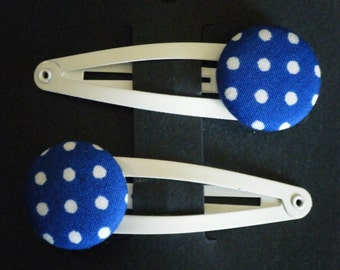 Toddler/Girl/Adult Button Snap Hair Clips Set of 2 - White Spots on Royal - White Clips