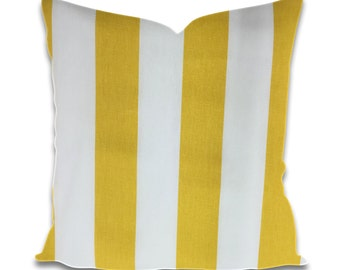 Yellow and White Striped Pillow, Decorative Pillow Covers, Cushion Covers, Throw Pillows,  Housewarming Gift, Dorm Room Decor
