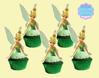 TinkerBell Cupcake Toppers, Cupcake Picks, DIGITAL FILE, You Print