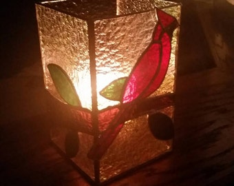Stunning 3d Cardinal stained glass candle shelter. Original design. Perfect gift for the bird or nature lover!