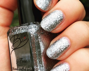 "True Silver"" Silver Glitter Nail Polish - Full size 15ml Bottle."