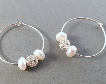 Sterling silver pearl hoop earrings, Classic pearl hoops, Fresh water pearl earrings, White pearl hoop earrings, Elegant pearl earrings