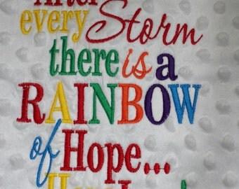 Luxury rainbow of hope baby Blanket,Bubble Feel,Embroidered rainbow blanket