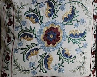 Suzani pillow case from Uzbekistan.