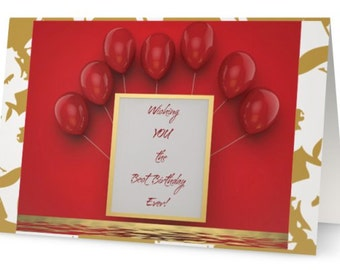 red balloons - balloons - birthday card - red and gold - gold foilage - happy birthday - festive