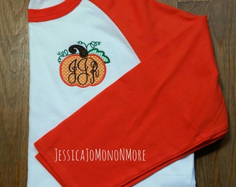Monogram Pumpkin Shirt-Monogram Pumpkin Raglan Shirt-Fall Shirt-Fall Festival Shirt-Pumpkin Shirt-Orange Raglan Shirt
