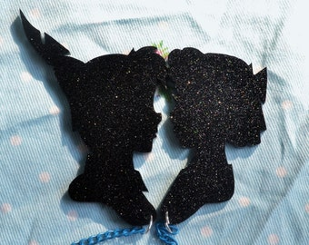 Peter Pan and Wendy Silhouette Cardigan/Sweater Clips