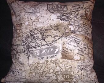 Road map 16X16 vintage decorative pillow case