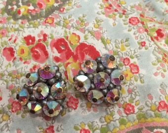 Vintage retro clip earrings Aurora Borealis Crystal