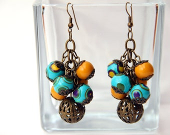 Turquoise beaded earrings Colorful polymer clay earrings Long dangle earrings Dangle cluster earrings Gift for Women