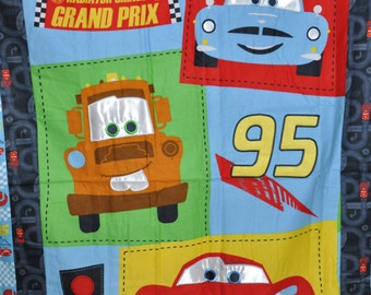 """New!  Disney - Cars- Lightning McQueen - 100% Cotton Flannel Quilt Sewn Top  Panel 37"""" w x 42"""" L"""