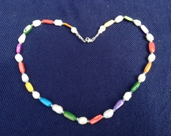 Freshwater Pearls and mother of Pearl necklace with Sterling Silver clasp