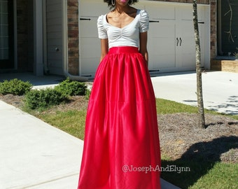 "Satin Ball Skirt ""Nadine"" XS - 6XL , Floor Length, Any Height (Back Zipper or Back Elastic)"