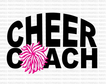 Cheer Coach SVG files for Silhouette Cheerleader Sports Megaphone Cricut Design Space and Silhouette Cameo Cutting Files DXF EPS png Iron On