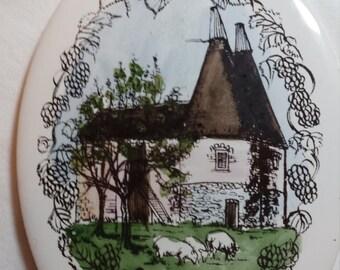 Vintage H. & R. Johnson Ltd Made in England 'Oast-Houses' decorative oval ceramic tile