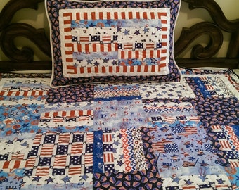 Patriotic Twin Quilt and Pillow Sham