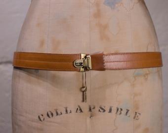 Vintage Leather Key Lock Belt