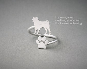 Adjustable Spiral PUG and PAW Ring / Pug Ring / Paw Ring /Dog Ring / Silver, Gold Plated or Rose Plated.