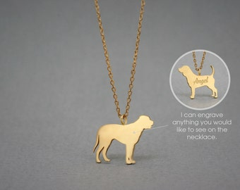 14K Solid GOLD Tiny MASTIFF Name Necklace - English Mastiff Name Necklace - Gold Dog Necklace - 14K Gold or Rose Plated on 14k Gold Necklace