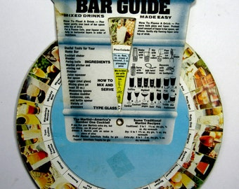 "Vintage Bar Guide 60 Mixed Drinks Made Easy Recipe Wheel Great Collectible!  7"" Wide By 8"" Tall"
