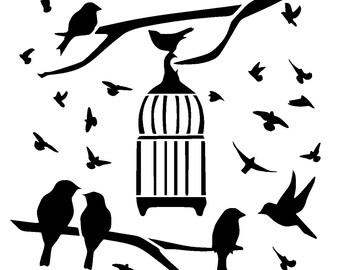 """12/12""""  bird outside cage stencil."""