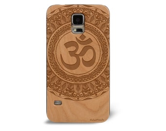 Laser Engraved Mayan Aztec Themed Mandala with Hindu OM Symbol on Wood phone Case for Galaxy S5 S6 and S6 EDGE G-058