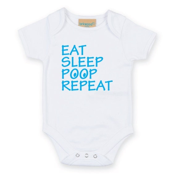 Eat Sleep Poop Repeat Baby Grow Body Suit Baby Onesie Sleep Suit sleepwear baby shower funny slogan gift present new born mum to be gift