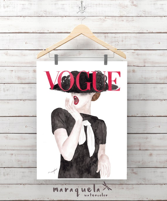 Original Vogue Cover German Watercolour Handmade.Fashion art wall, Illustration Prints, Art German Vogue painting, Girls Room Decor