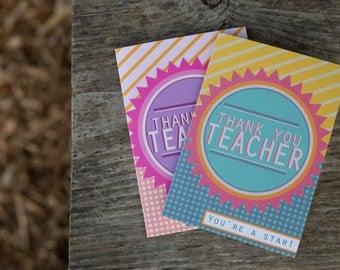 Thank You Teacher Blank Greeting Cards