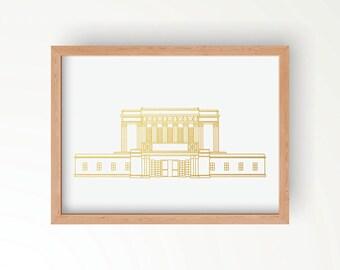 LDS Mesa Arizona Temple Gold Foil Print