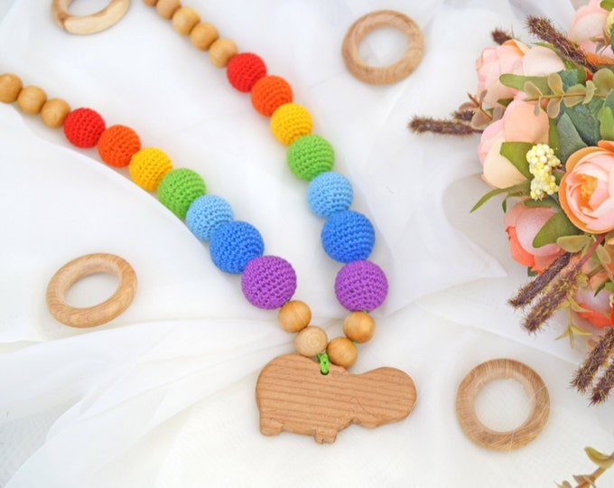 Nursing necklace / Teething necklace / Breastfeeding necklace with a pendant - Rainbow